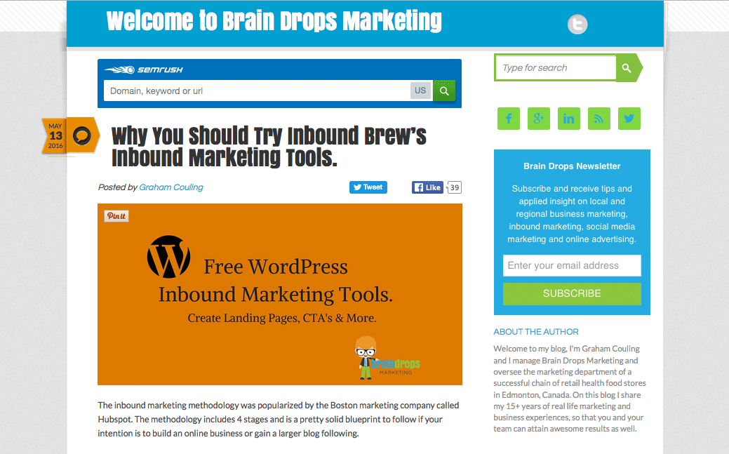 The Inbound Brew Plugin Featured on Brain Drops Marketing